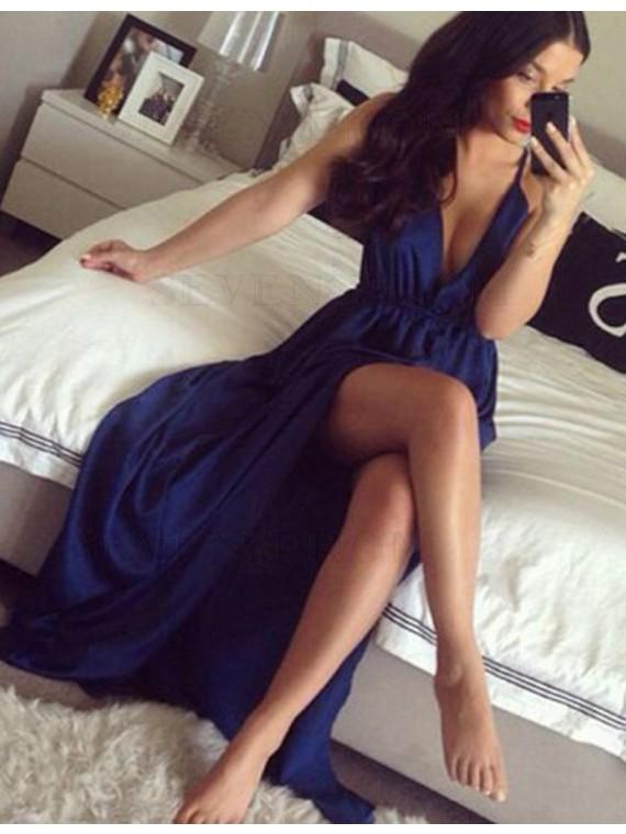 Sexy Deep V Neck Sleeveless Long Blue Prom Dress Pleated with Split