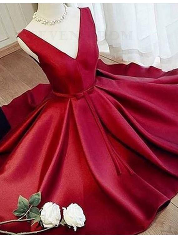 Modern V Neck Sleeveless Short Pleated Prom / Homecoming Dress with Sash