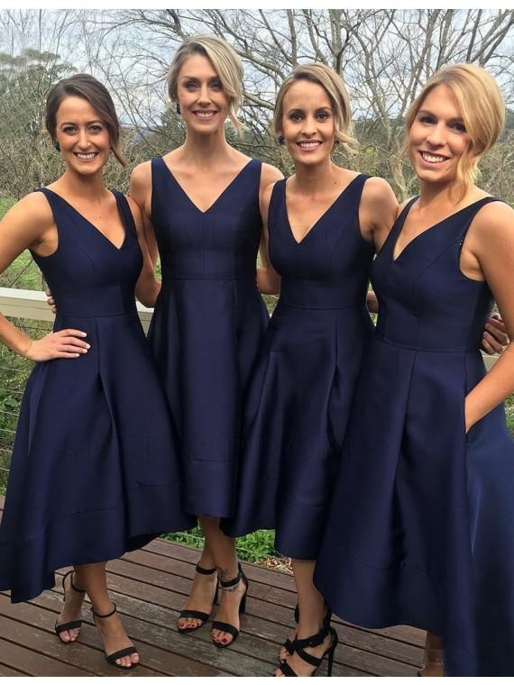 Simple V Neck Sleeveless High Low Navy Blue Bridesmaid Dress