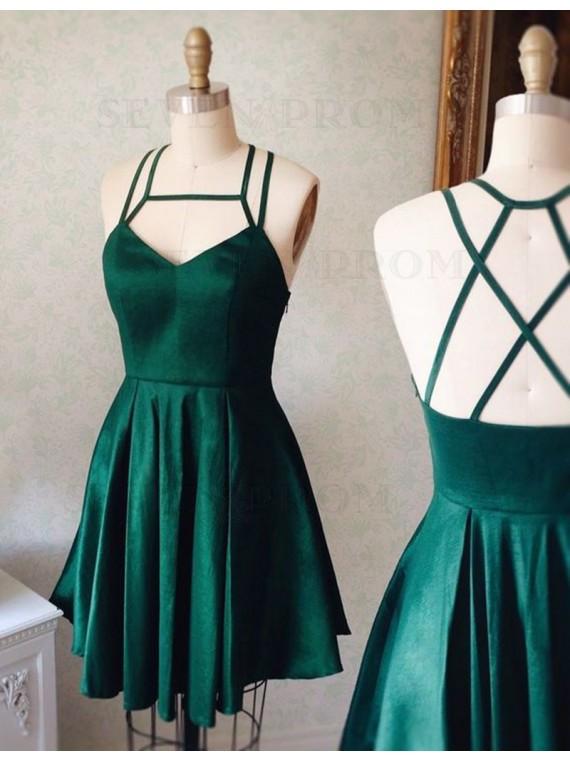 Chic Dark Green Square Sleeveless Short Pleated Prom Homecoming Dress