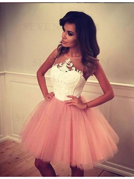 Modern Pearl Pink Jewel Sleeveless Short with Appliques Prom Homecoming Dress