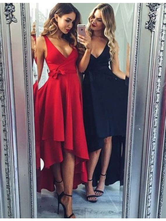 Nice Red/Dark Navy V Neck Sleeveless High Low with Sash Prom Dress