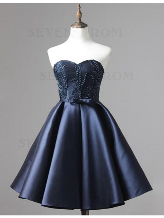 Fashion Navy Blue Sweetheart with Sash Beading Short Prom Homecoming Dress