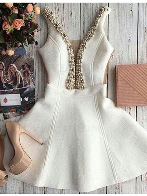 Hot Ivory Deep V Neck with Beading Pearls Short Prom Homecoming Dress
