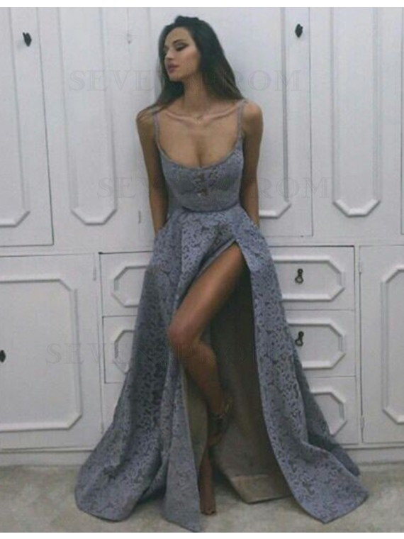 Sexy Lavender Scoop Sleeveless Long with Split Lace Prom Dress