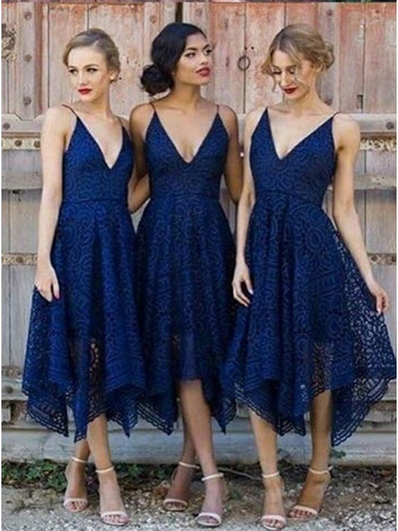 A-Line Spaghetti Straps Navy Lace Bridesmaid Dress
