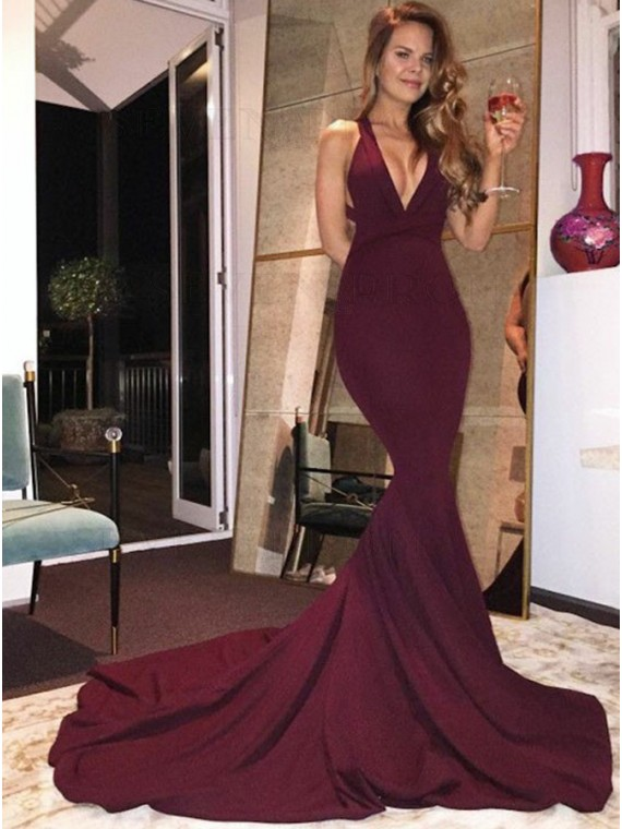 Mermaid Deep V-Neck Criss-Cross Straps Burgundy Stretch Satin Prom Dress