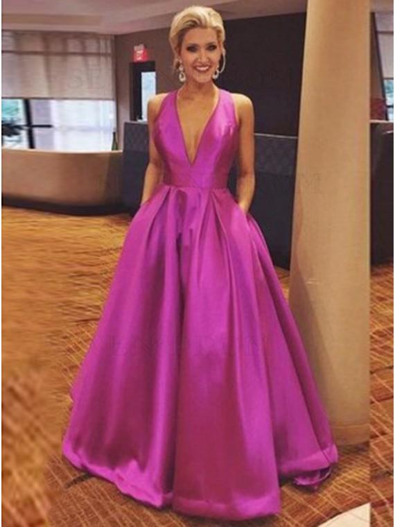 A-line V-Neck Long Fuchsia Satin Prom Dress with Bowknot