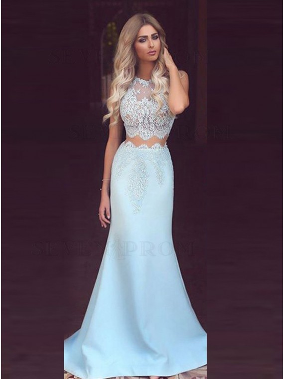 Two Piece Round Neck Light Blue Long Prom Dress with Appliques