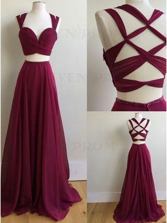 A-Line Two Piece Open Back Sleeveless Chiffon Burgundy Long Prom Dress