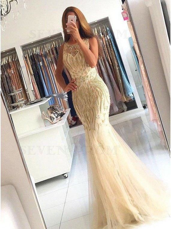 Mermaid Round Neck Long Gold Tulle Prom Dress with Beading
