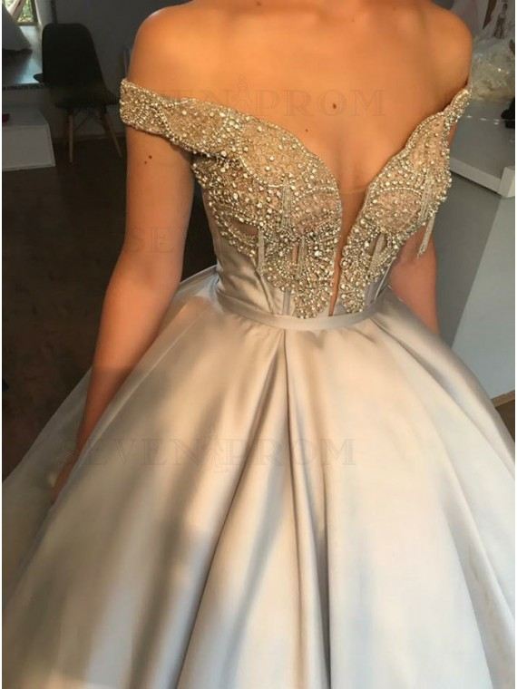 Ball Gown Off-the-Shoulder Grey Satin Prom Dress with Beading