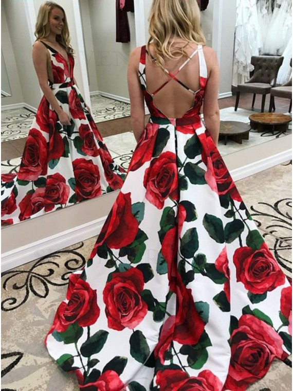 A-Line V-Neck Sweep Train Criss-Cross Straps Satin Floral Prom Dress with Pockets