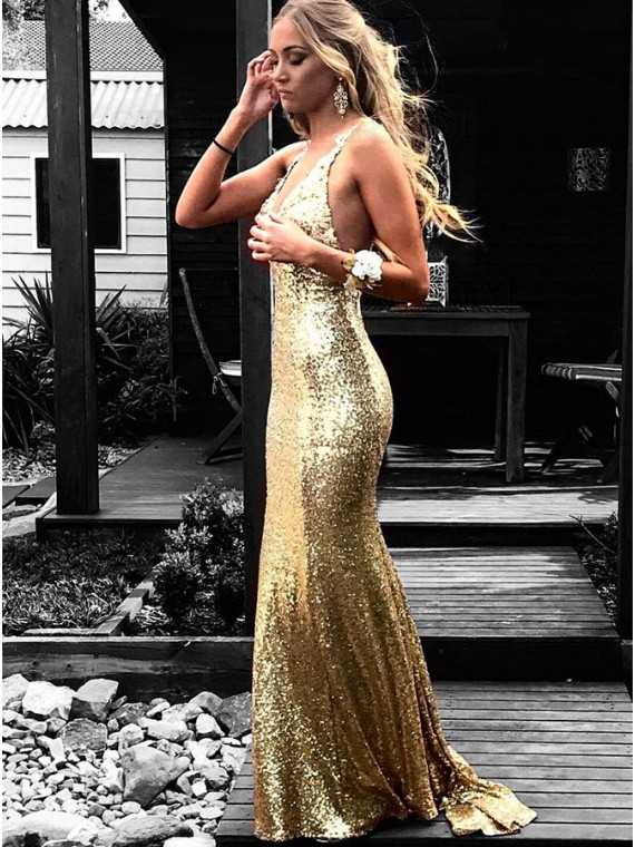 Backless Mermaid Evening Gown Long Gold Sequin Prom Dress