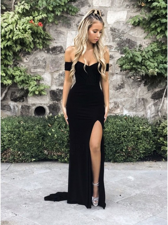Fashion Long Off-the-Shoulder Black Mermaid Prom Dress with Split