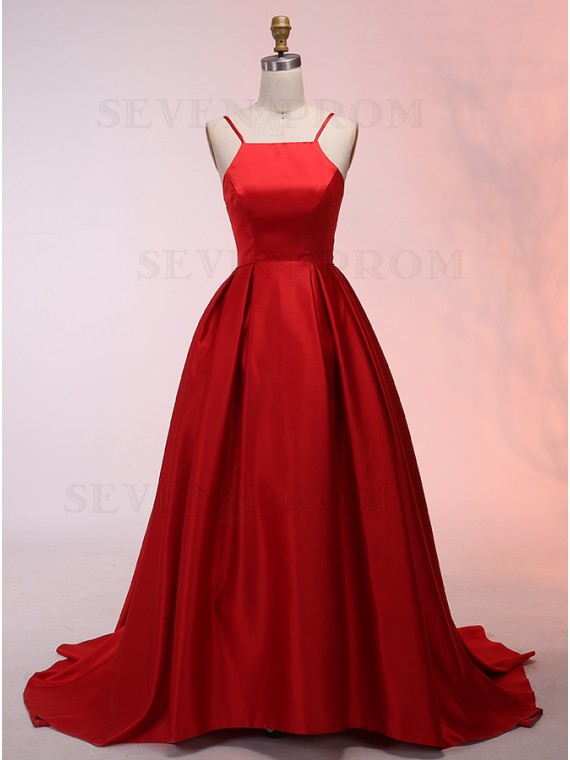 A-Line Spaghetti Straps Sweep Train Red Satin Prom Dress