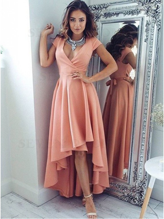 A-Line V-Neck High-Low Pleated Coral Stretch Satin Prom Dress