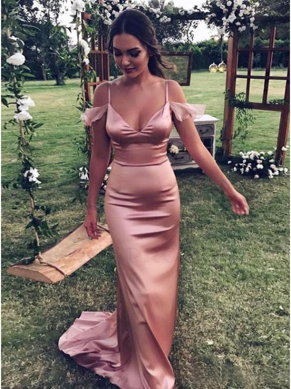 Mermaid Spaghetti Straps Blush Stretch Satin Prom Dress with Ruffles