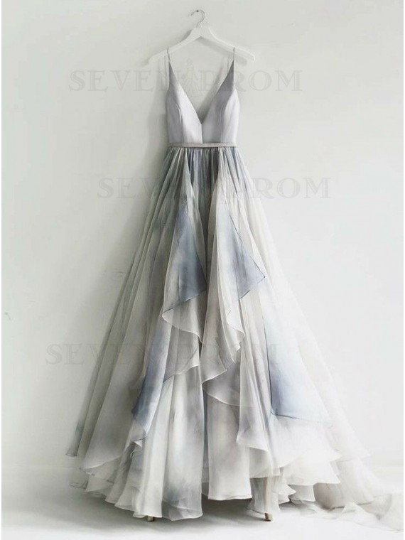 A-Line Spaghetti Straps Backless Long Ombre Prom Dress