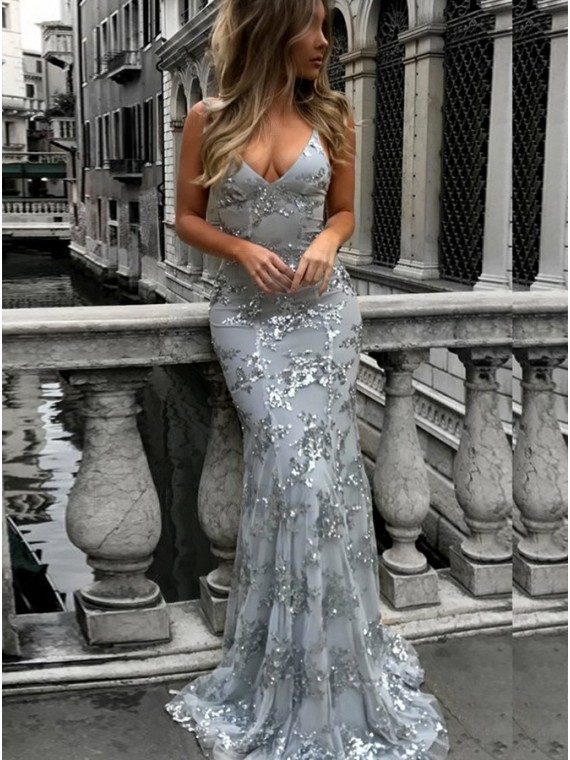 Mermaid Spaghetti Straps Long Silver Prom Dress Backless Evening Dress