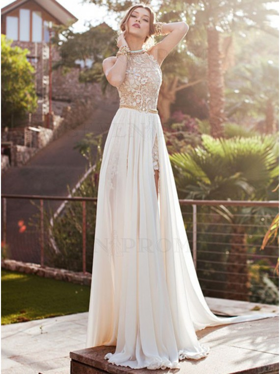 Ivory Halter Appliques Slit Chiffon Backless Wedding Dress