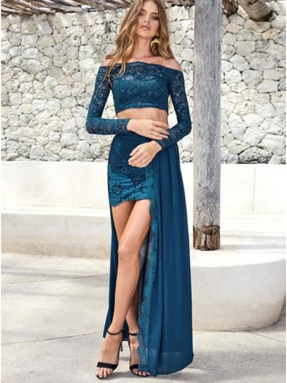 Two Piece Off the Shoulder Lace Slit Long Blue Prom Dress
