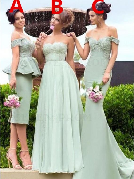 Mermaid Green Off the Shoulder Chiffon Appliqued Bridesmaid Dress