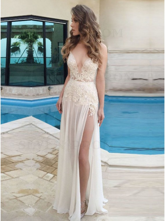 A-line Ivory Spaghetti Straps Appliques Side Split Chiffon Prom Dress