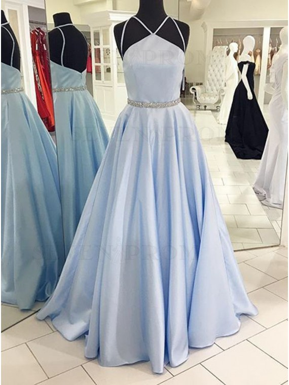 A-Line Halter Floor Length Blue Satin Prom Dress with Beading