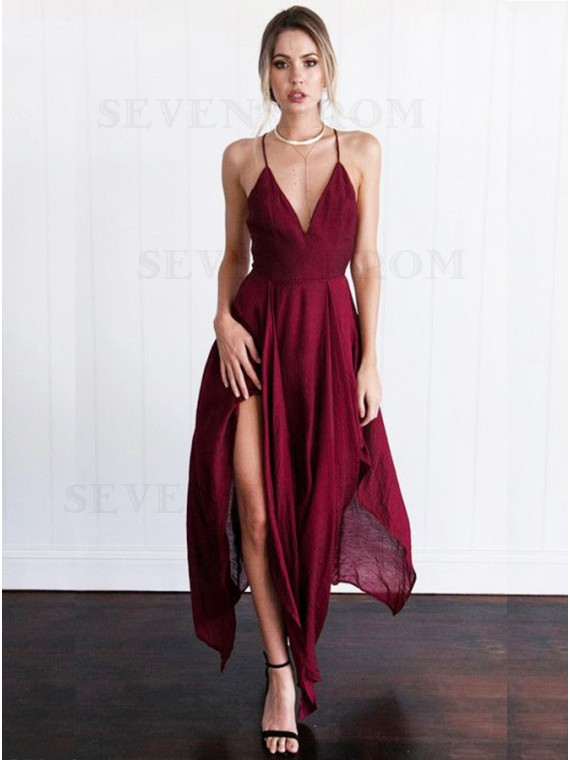 A-Line Spaghetti Straps Burgundy Asymmetrical Prom Dress with Criss-Cross Straps