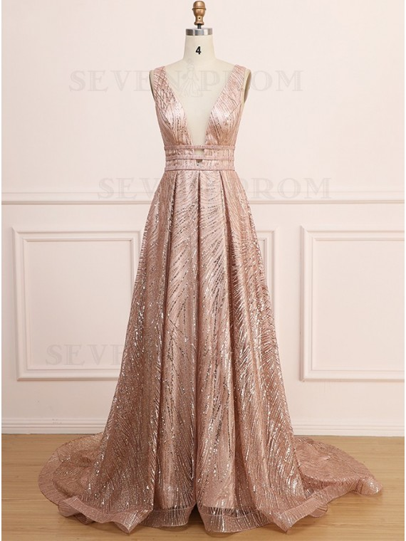 A-Line Sleeveless Backless Long Gold Prom Dress with Sequin