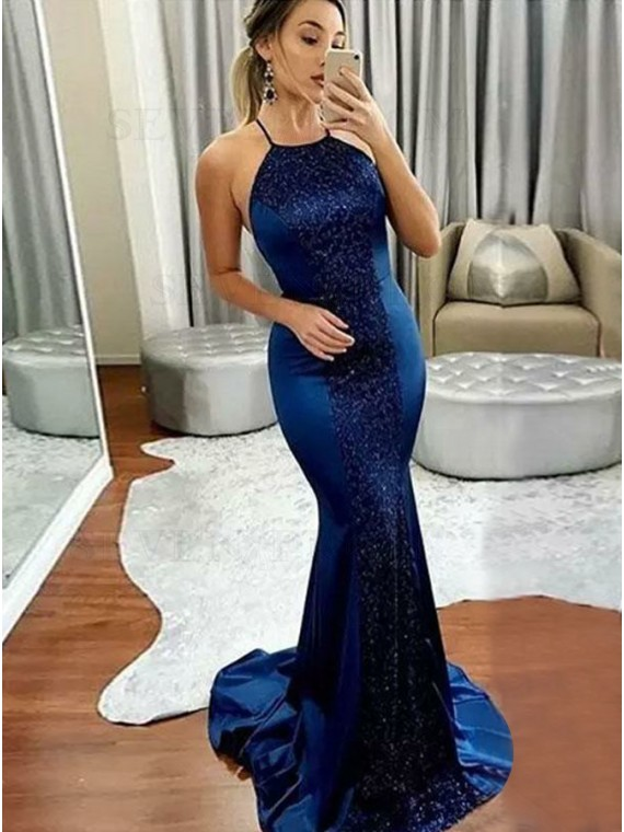 Mermaid Round Neck Royal Blue Stretch Satin Prom Dress with Sequins