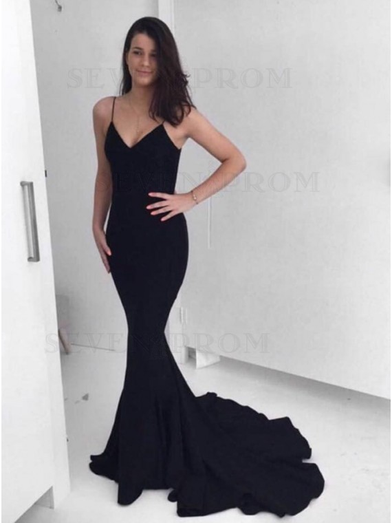 Mermaid Spaghetti Straps Black Stretch Satin Prom Dress