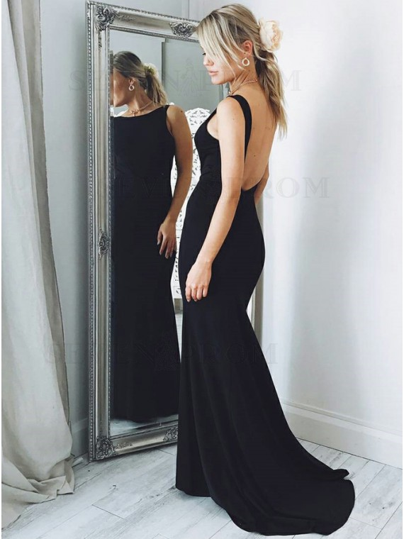 Mermaid Backless Crew Neck Sweep Train Sleeveless Black Prom Dress
