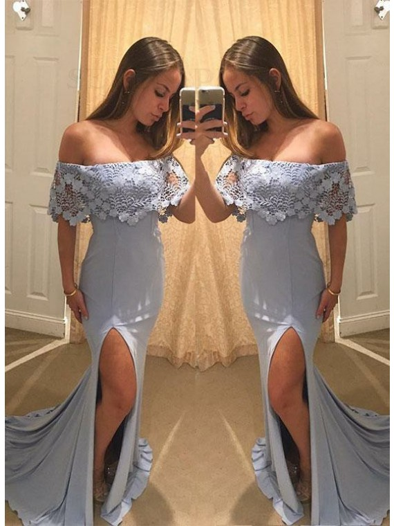 Mermaid Off-the-Shoulder Stretch Satin Long Prom Dress with Lace Split