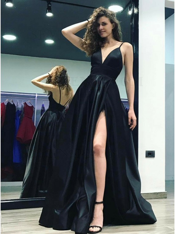 A-Line Spaghetti Straps Floor-Length Black Prom Dress with Split