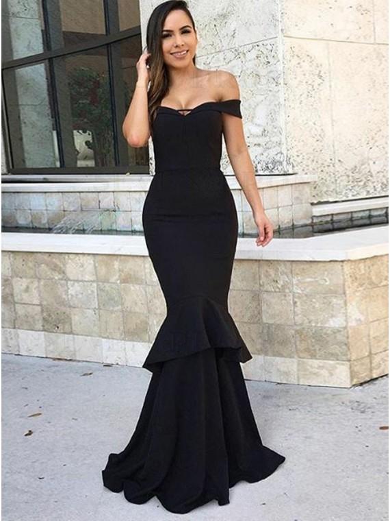 Mermaid Off-the-Shoulder Black Stretch Satin Prom Evening Dress