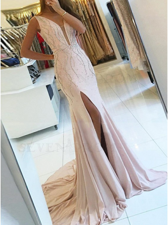 Mermaid Low Cut V-Neck Pink Stretch Satin Prom Dress with Beading