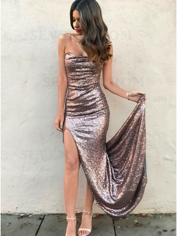Mermaid Strapless Sweep Train Rose Gold Sequined Prom Dress