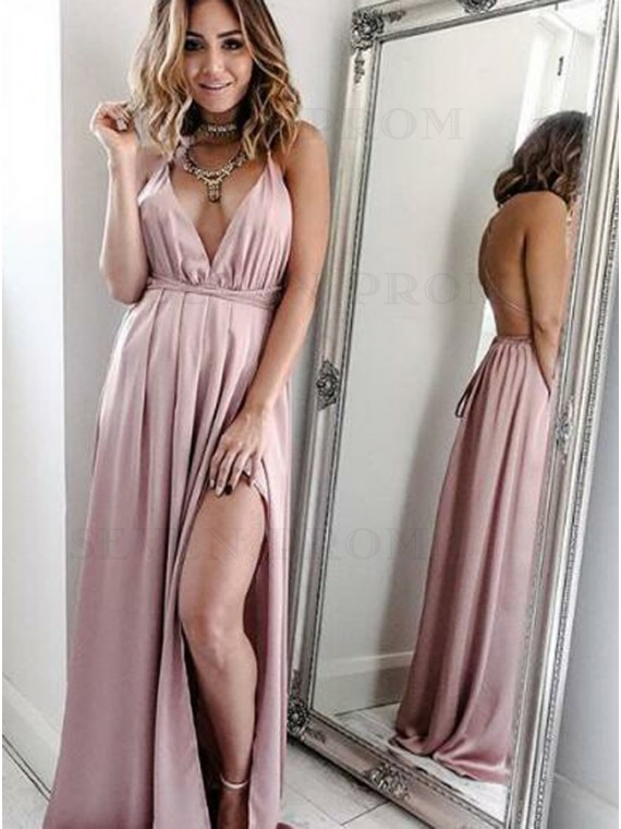 A-Line Spaghetti Straps Convertible Blush Stretch Satin Prom Dress