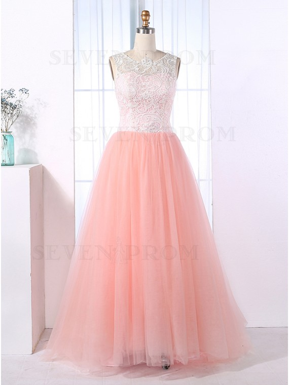A-Line Round Neck Sleeveless Floor-Length Pink Prom Dress with Lace