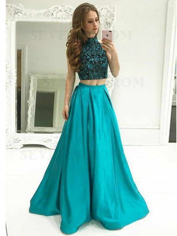 Two Piece High Neck Floor-Length Turquoise Satin Prom Dress