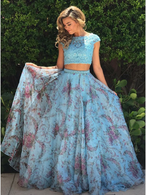Two Piece Bateau Cap Sleeves Floral Chiffon Prom Dress with Appliques
