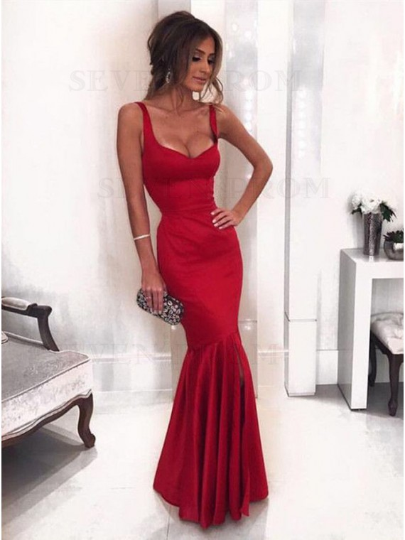Stunning Mermaid Straps Red Prom Dress with Ruffles Long Evening Gown