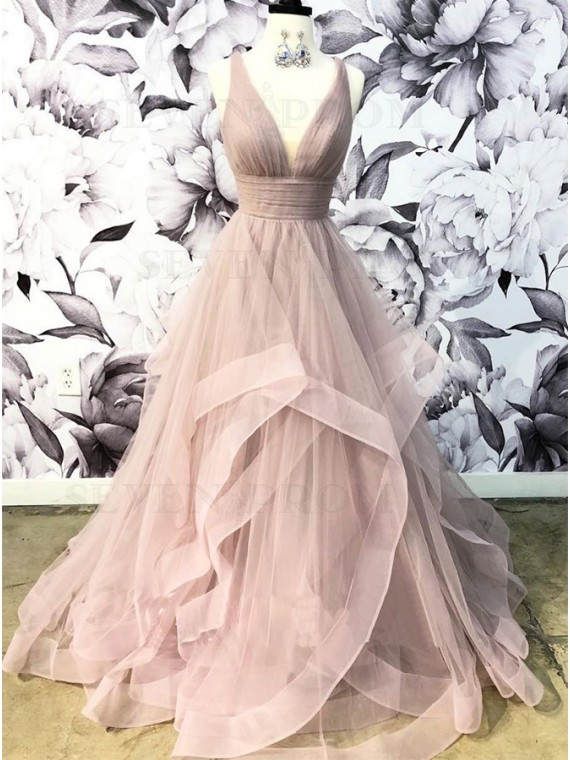 A-Line V-Neck Long Open Back Blush Prom Dress