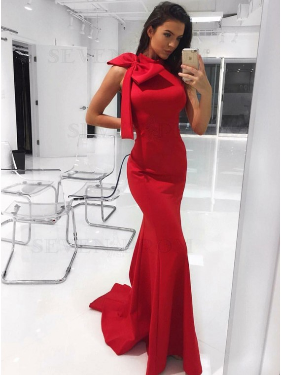 Mermaid High Neck Sweep Train Red Prom Dress with Bowknot