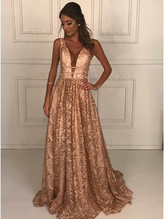 A-Line Deep V-Neck Sweep Train Lace Champagne Prom Dress with Beading