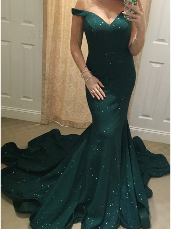 Mermaid Off-the-Shoulder Sweep Train Dark Green Prom Dress
