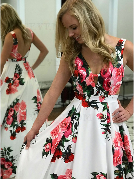 A-Line V-Neck Long White Floral Prom Dress Backless Party Dress