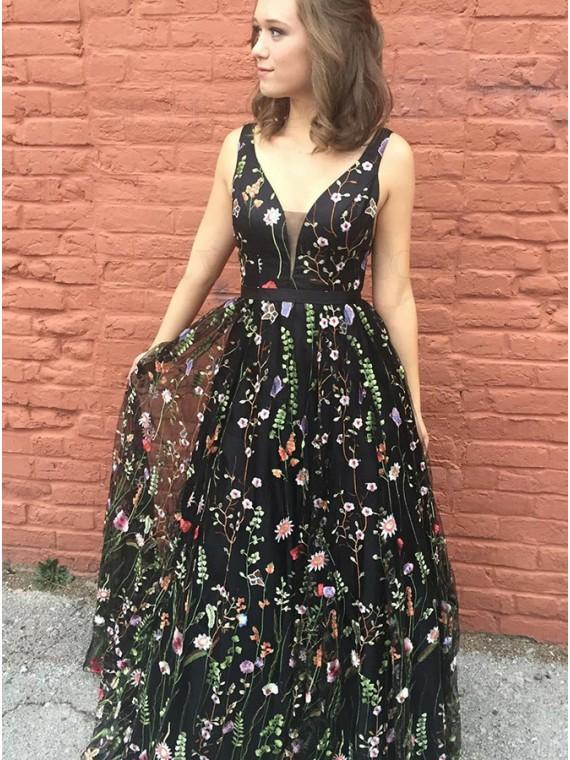 A-Line V-Neck Backless Long Black Embroidery Prom Dress